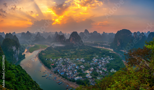 Foto op Aluminium Guilin Landscape of Guilin , Li River and Karst mountains called Laozhai mount, Guangxi Province, China