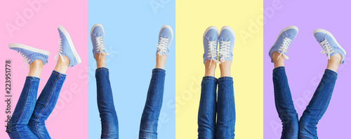 Fotografia  Collage of female legs in jeans and sneakers in the different poses on colored b