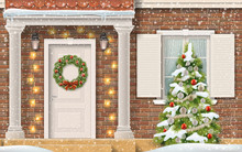 Entrance To The House, Decorated With A Garland And Christmas Wreath And A Christmas Tree In The Front Garden. Front View Of A Brick Suburban House With Columns.