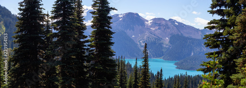 Beautiful panoramic landscape view during a vibrant sunny summer day Fototapeta