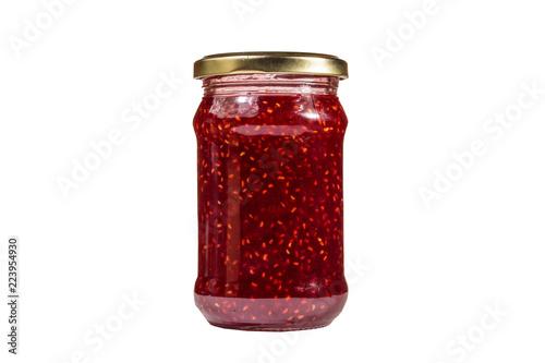 Fotografía  Raspberry jam in glass jar isolated on white background