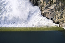 Dam Waterfall Overhead Aerial ...