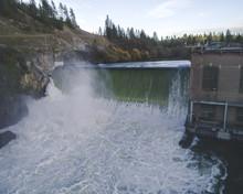 Spokane River Dam At 9 Mile Falls