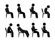 person sits, various poses, sitting on a chair, stooping and the right position of the back