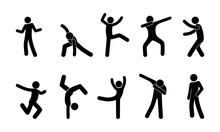 Set Of Dancing Man, Stick Figu...