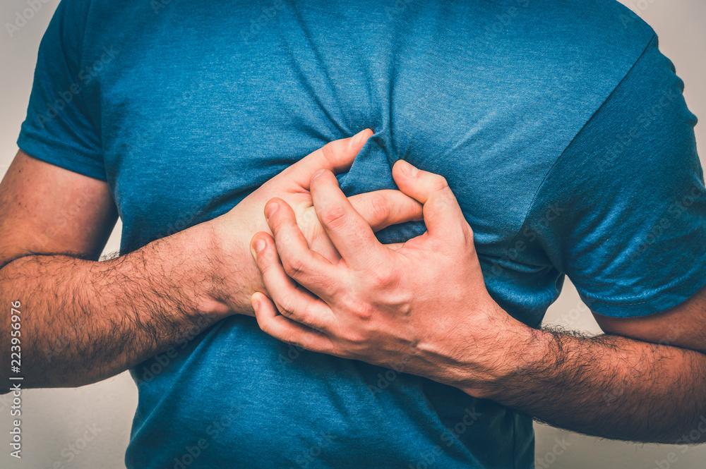 Fototapeta Man having chest pain, heart attack