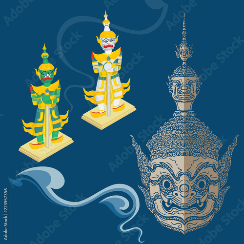Fotografía vector ramayana mask and figure,thai style,cut out and isolated,asian culture