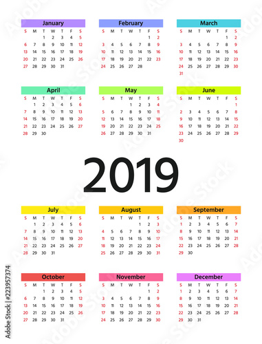 2019 calendar in minimal design week starts sunday vector stationery 2019 year vertical