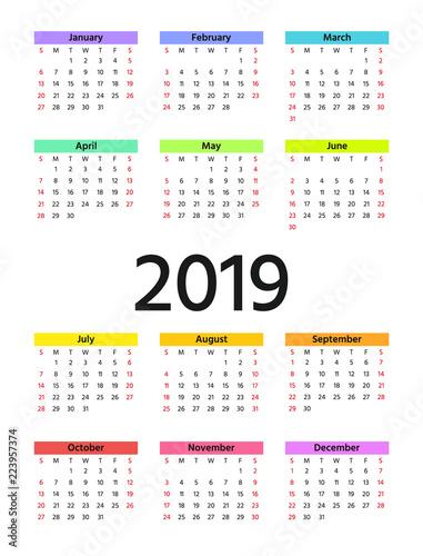 2019 calendar in minimal design week starts sunday vector stationery 2019 year vertical
