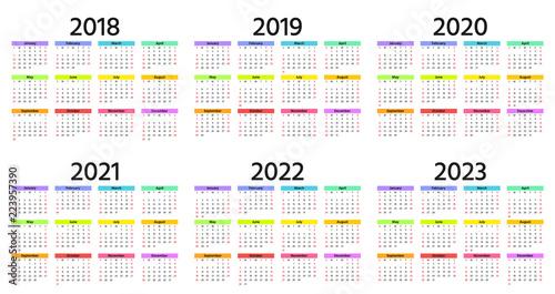 Calendar Weeks 2022.Calendar 2018 2019 2020 2021 2022 2023 Year Week Starts Sunday Vector Stationery 2019 Horizontal Template In Simple Minimal Design Yearly Calendar Organizer For Weeks Landscape Orientation Stock Vector Adobe Stock