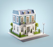 canvas print picture - Unusual 3d illustration of a beautiful house with