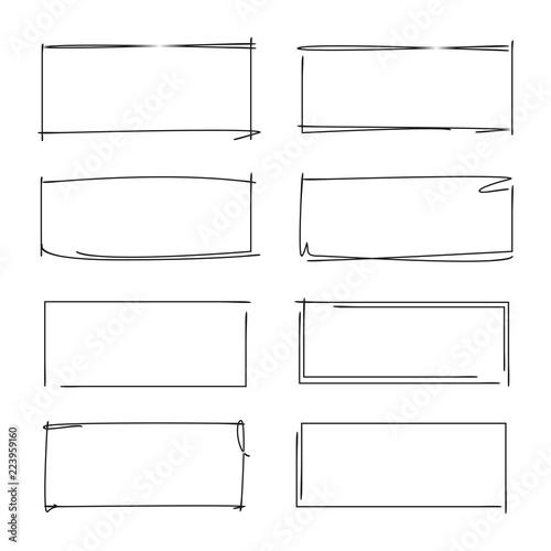 Obraz na płótnie hand drawn rectangle frames, grunge border set, grunge frame