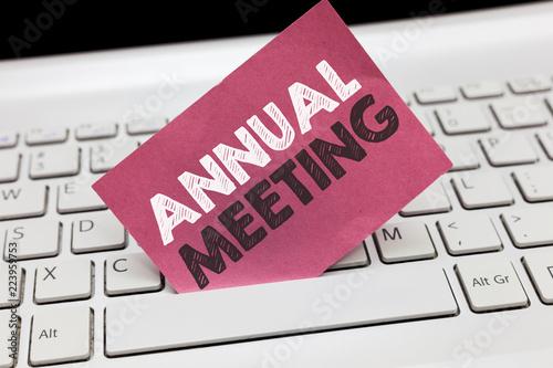 Fotografía  Conceptual hand writing showing Annual Meeting