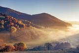 Sceniczny mgłowy góra krajobraz z starym monasterem w Czarnym lesie, Niemcy. Kolorowe tło podróży. - 223960737