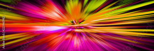 obraz PCV Blurred motion.Hyperspace motion in galaxy. Concept of intergalactic travel. Starburst. Outer space. Multicolor abstract pattern. Panoramic illustration