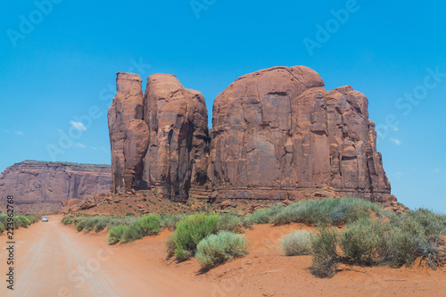 Wild West USA. Monument Valley, Arizona, Three Sisters Rock, Navajo tribal park