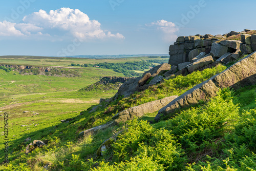 Peak District landscape, seen from the top of Higger Tor, South Yorkshire, England, UK