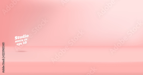Fotografiet  Vector Empty pastel pink color studio table room background ,product display with copy space for display of content design