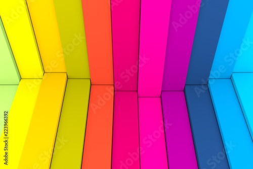 colorful abstract background with stairs wave box 3d illustration