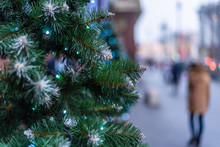Christmas Street Decorations From Artificial Christmas Tree Branches