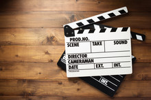 Movie Clapper Board At Wooden ...