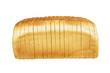 Leinwandbild Motiv SINGLE LOAF OF SLICED WHITE BREAD ON WHITE BACKGROUND