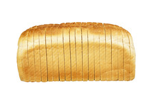 SINGLE LOAF OF SLICED WHITE BREAD ON WHITE BACKGROUND