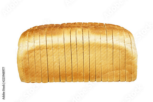 Printed kitchen splashbacks Bread SINGLE LOAF OF SLICED WHITE BREAD ON WHITE BACKGROUND