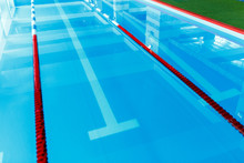 Picture From Top Of Swimming Pool With Blue And White, Red Dividers
