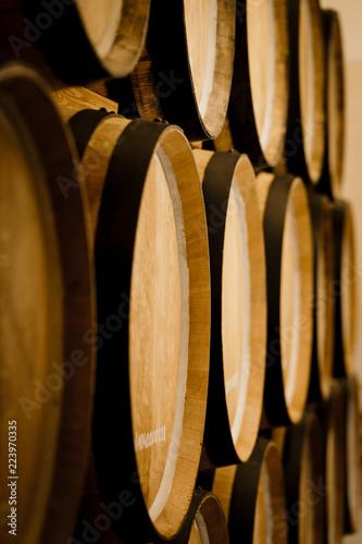 Cuadros en Lienzo Oak barrels. Wine barrels stacked in the cellar of the winery.