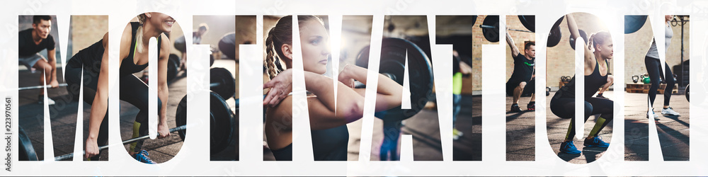 Fototapety, obrazy: Collage of a fit woman lifting weights at the gym
