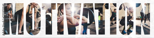 Collage of a fit woman lifting weights at the gym Fotobehang