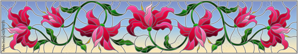 llustration in stained glass style with flowers, leaves and buds of pink lilies on a blue background