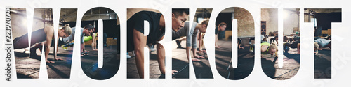 Fototapeta Collage of people doing pushups together during a gym workout obraz