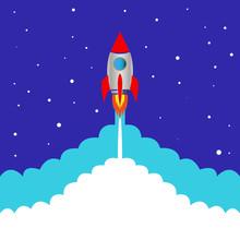 Start Space Rocket Blue Background