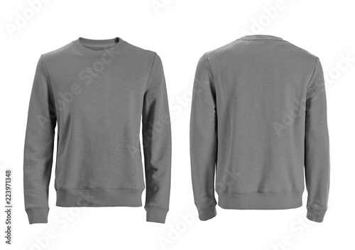 Fényképezés  Men's long sleeve t-shirt with front and back views isolated on white with clipp