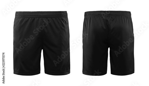 Fotomural  Black sport shorts isolated on white background with front and back view