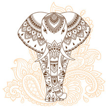 African Elephant Decorated With Indian Ethnic Floral Vintage Pattern. Hand Drawn Decorative Animal In Doodle Style. Stylized Mehndi Ornament For Tattoo, Print, Cover, Book And Coloring Page.