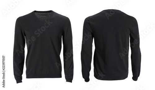 Fényképezés  Men's long sleeve v-neck t-shirt with front and back views isolated on white