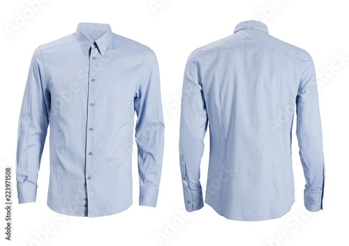 Stampa su Tela Blue formal shirt with button down collar isolated on white