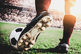 Fototapeta Sport - close up soccer football kick the ball