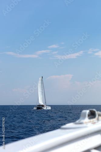 Poster Zeilen white catamaran sailing