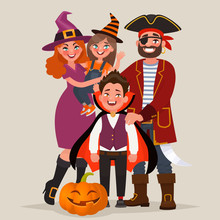 Happy Family Dressed In Costumes, Celebrates Halloween. Vector Illustration