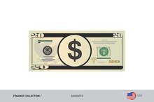 20 US Dollar Banknote. Flat St...