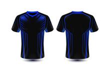 Black And Blue Layout E-sport T-shirt Design Template