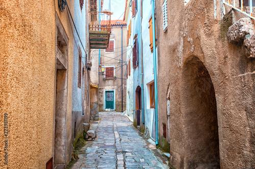 Poster Maroc Narrow street with stones houses in Croatia, Vrbnik on Krk Island