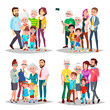 Family Set Vector. Big Full Happy Family Portrait. Father, Mother, Kids, Grandparents. Cheerful. Illustration