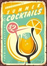 Summer Cocktails Retro Tin Sign Design