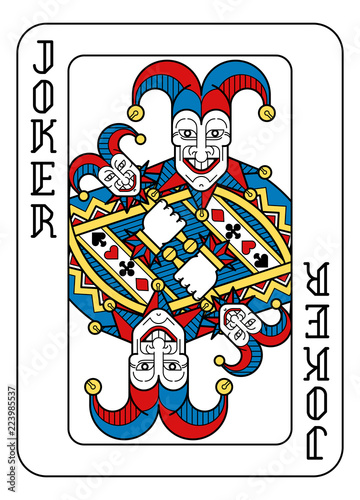 Photo A playing card Joker in yellow, red, blue and black from a new modern original complete full deck design
