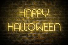 Neon Inscription Happy Hallowe...